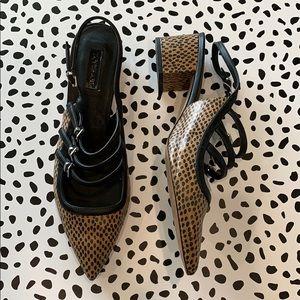 TopShop Leopard Print Buckle Heels